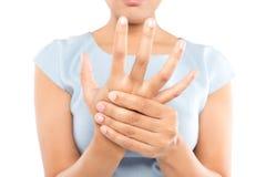 Acute pain in a women wrist stock photos
