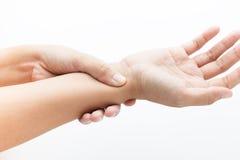 Acute pain in a women wrist Stock Photo