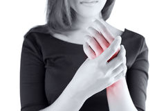 Acute pain in a women wrist Royalty Free Stock Photo