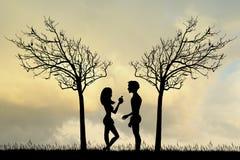 Adán y Eva en el jardín de Eden ilustración del vector