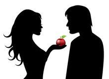 Adán y Eva y la fruta prohibida ilustración del vector