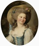 Adélaide Labille-Guiard (1749−1803): Mme Dugazon in the Role of Babet / Mme Dugazon Babetin roolissa / Mme Dugazon i  Royalty Free Stock Images