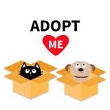 Adópteme No compre Caja abierta interior del paquete de la cartulina del gato del perro Adopción del animal doméstico Gato del ga stock de ilustración