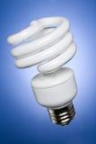 Ad angolo, la lampadina di CFL, fronteggia illuminato Immagini Stock Libere da Diritti
