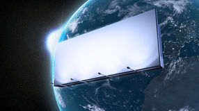 Ad billboard orbiting Earth. Marketing ad billboard orbiting Earth Stock Photos
