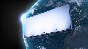 Ad billboard orbiting Earth. Marketing ad billboard orbiting Earth stock photos