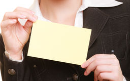 Ad. Blank card in hands of businesswoman Royalty Free Stock Photo