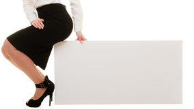 Ad. Blank copy space banner and female legs Stock Images
