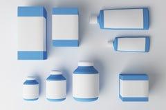 Ad blue medicine bottles. On white background. Medical, drug, dosage and advertisement concept. Mock up, 3D Rendering stock illustration