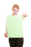Ad. Businesswoman holding blank copy space banner Royalty Free Stock Image