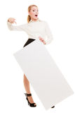 Ad. Businesswoman holding blank copy space banner Royalty Free Stock Photos