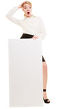 Ad. Businesswoman holding blank copy space banner Stock Photo