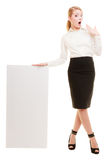 Ad. Businesswoman holding blank copy space banner Royalty Free Stock Images