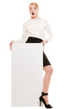 Ad. Businesswoman holding blank copy space banner Stock Photography