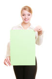 Ad. Businesswoman holding blank copy space banner Stock Images