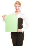 Ad. Businesswoman holding blank copy space banner Royalty Free Stock Photo