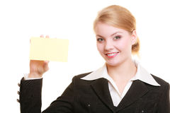 Ad. Businesswoman holding blank copy space card Royalty Free Stock Images