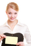 Ad. Businesswoman holding blank copy space card Stock Image