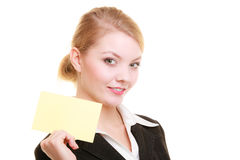 Ad. Businesswoman holding blank copy space card Royalty Free Stock Photography