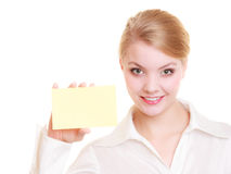 Ad. Businesswoman holding blank copy space card Royalty Free Stock Image