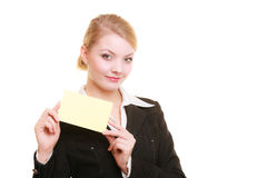 Ad. Businesswoman holding blank copy space card Royalty Free Stock Photo