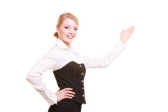 Ad. Businesswoman presenting blank copy space Royalty Free Stock Photography