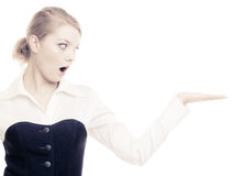 Ad. Businesswoman showing blank copy space Royalty Free Stock Photography