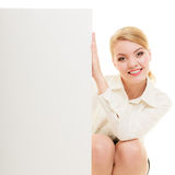 Ad. Businesswoman showing blank copy space banner Stock Photo