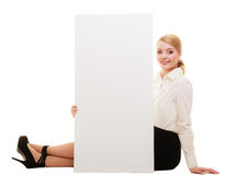 Ad. Businesswoman showing blank copy space banner Stock Photos