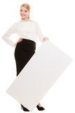 Ad. Businesswoman showing blank copy space banner Stock Image
