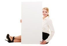 Ad. Businesswoman showing blank copy space banner Stock Photography