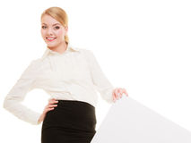 Ad. Businesswoman showing blank copy space banner Royalty Free Stock Images