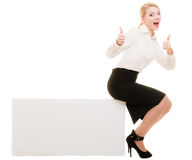 Ad. Businesswoman sitting blank copy space banner Stock Photo