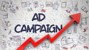 Ad Campaign Drawn on Brick Wall. Ad Campaign - Business Concept. Inscription on the Brick Wall with Doodle Icons Around. Ad Campaign - Enhancement Concept with Royalty Free Stock Images