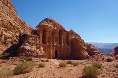 Ad Deir in the ancient city of Petra, Jordan. Petra has led to its designation as a UNESCO World Heritage Site. Ad Deir is known a stock image