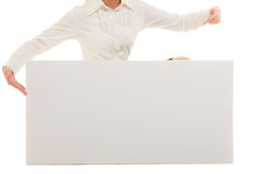 Ad. Finger pointing at blank copy space banner Stock Photos