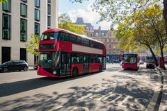 Red bus in London city. Ad free London`s red Bus without people Royalty Free Stock Photography