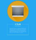 Ad layout for sale of window with roller shutters Stock Images