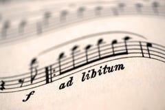 Ad libitum, indicação da música Fotos de Stock