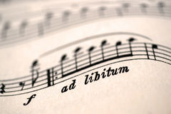 Ad libitum, music indication Stock Photos