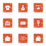 Ad money icons set, grunge style. Ad money icons set. Grunge set of 9 ad money vector icons for web isolated on white background Stock Photo