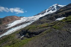 Ad ovest impressionanti del ` s del panettiere del supporto affrontano ai ghiacciai magnifici lavata immagine stock libera da diritti