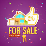 The ad poster. Home sale of real estate. The ad poster. Sale of real estate. Vector illustration. Home for sale Royalty Free Stock Photography