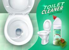 Realistic Toilet And Cleaner Gel Poster Stock Images