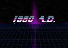 1980 AD retro illustration. A retro style illustration of the text `1980 A.D.` on a neon grid and star background Stock Photography