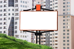 Ad space with new realty. Billbord in front of new modern block Stock Photography