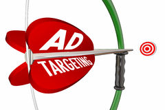 Ad Targeting Advertising Campaign Bow Arrow. 3d Illustration Royalty Free Stock Images