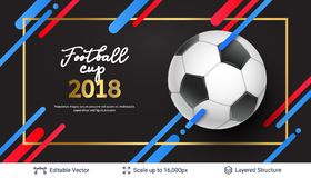 FIFA World Cup 2018 Banner Concept. Ad text and soccer ball. Editable vector background template Stock Photography