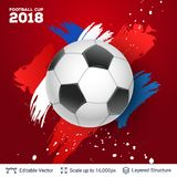 FIFA World Cup 2018 Banner Concept. Ad text and soccer ball. Editable vector background template Royalty Free Stock Image
