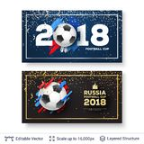 FIFA World Cup 2018 Banner Concept. Ad text and soccer ball. Editable vector background template Royalty Free Stock Photography